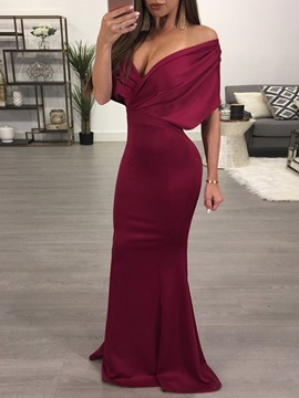 Solid Color Short Sleeve Women's Maxi Dress