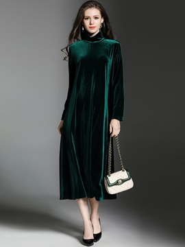 Chic Solid Color Long Sleeve Maxi Dress