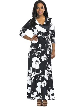 Round Neck Floral Imprint Maxi Dress