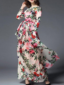 Hot Long Sleeve Floral Imprint Women's Maxi Dress