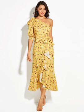 One-Shoulder Floral Print Bowknot Women's Maxi Dress