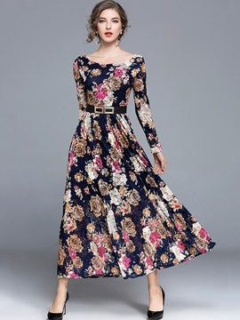 Amazing Floral Imprint Long Sleeve Women's Maxi Dress