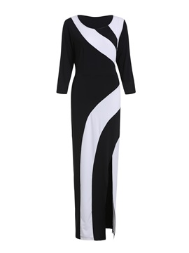 Color Block Belt Split Women's Bodycon Maxi Dress