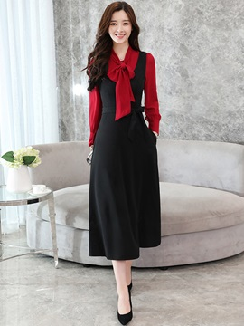 Bow Collar Patchwork Long Sleeve Women's Maxi Dress