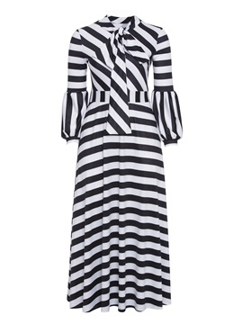 Bow Collar Lantern Sleeve Stripe Plus Size Women's Maxi Dress