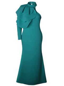 Tidebuy Stand Collar One-Shoulder Women's Maxi Dress