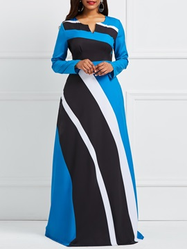 A-Line V-neck Color Block Zipper Women's Maxi Dress