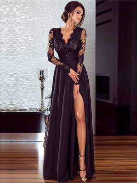 Tidebuy Long Sleeves V Neck Floor Length Maxi Dress