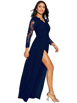 Long Sleeves V Neck Lace Pullover Maxi Dress