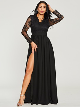 Tidebuy Long Sleeves V Neck Lace Pullover Maxi Dress