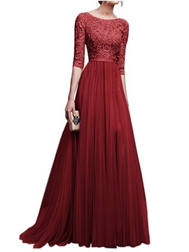 Tidebuy Lace Patchwork Floor Length Maxi Dress