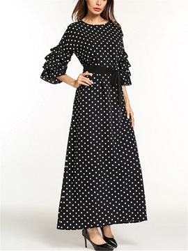 Ankle-Length A-Line Falbala Round Neck Women's Maxi Dress