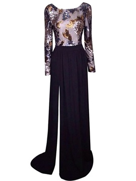 Tidebuy Sequin Backless Long Sleeve Floor-Length Maxi Dress