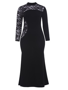 Tidebuy Black Lace Patchwork Plusee Women's Maxi Dress
