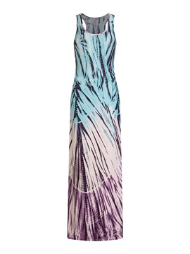 Sleeveless Milk Fiber Tie-Dye Women's Maxi Dress