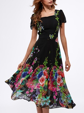 Tidebuy Floral Short Sleeves Maxi Dress