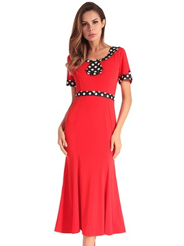Tidebuy Round Neck Polka Dots Short Sleeves Women's Dress