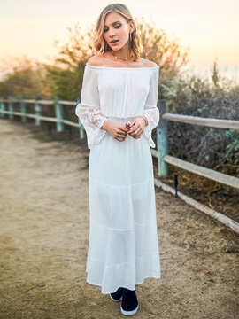 Tidebuy White Boat Neck Sleeves Patchwork Maxi Dress