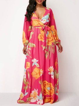 Print Floral V Neck Women's Maxi Dress