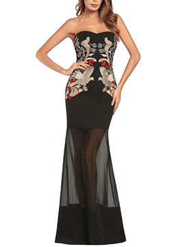 Tidebuy Embroidery Strapless Floor Length Women's Dress