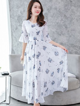 Floral Half Sleeves Volant Women's Maxi Dress