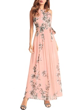 Tidebuy Ankle-length Lace-up Floral Sleeveless Women's Dress