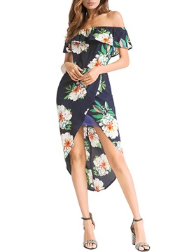 Tidebuy Asymmetric Floral Slash Neck Women's Dress