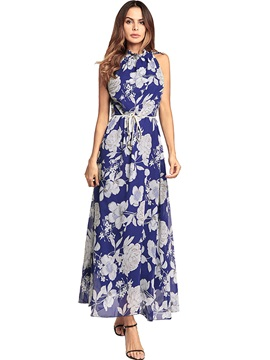 Tidebuy Lace-up Floral Sleeveless Women's Dress