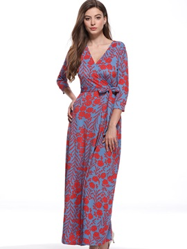 Tidebuy Lace-Up Print Women's A-Line Dress
