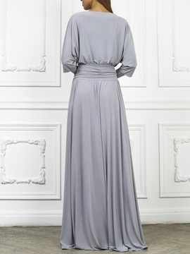 Floor-Length Lace-Up Polyester Pleated Women's Maxi Dress