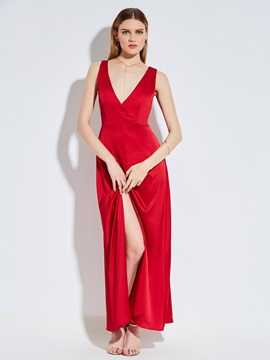 Tidebuy Backless Polyester Pullover Women's Maxi Dress