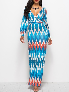 African Fashion Pullover V Neck Women's Maxi Dress
