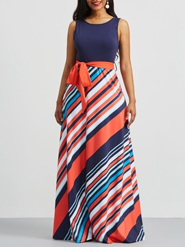 Tidebuy Floor-Length Stripe Women's Maxi Dress