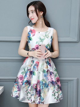 Tidebuy Pullover Floral A-line Round Neck Sleeveless Women's Dress