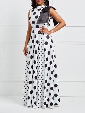Tidebuy Sleeveless Stand Collar Women's Maxi Dress