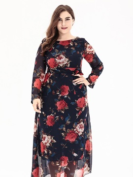Tidebuy Ankle-Length Floral Pullover Women's Maxi Dress