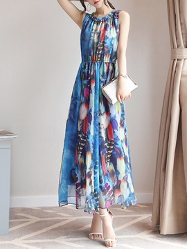 Tidebuy Ankle Length Round Neck Women's Maxi Dress