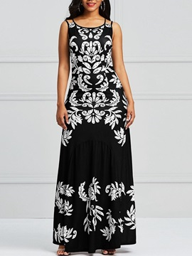 Sleeveless Expansion Floral Women's Maxi Dress