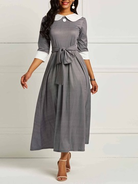 Lace-Up Patchwork Sweet Women's Maxi Dress
