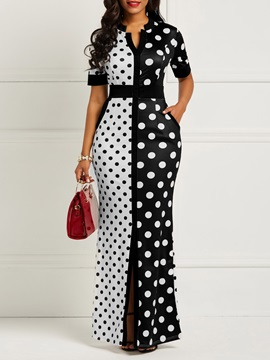 Polka Dots Print Pocket Women's Maxi Dress