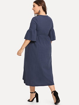 Plus Size Flare Sleeve Polyester Embroidery Women's Maxi Dress