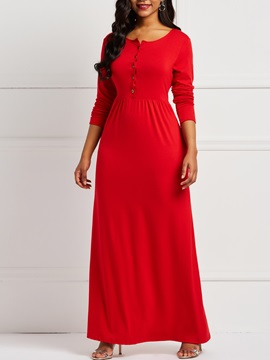 Single-Breasted Elegant Fall Women's A-Line Dress