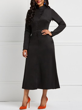Single-Breasted Casual Fall Women's A-Line Dress