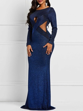 Round Neck Pullover Long Sleeve Women's Maxi Dress
