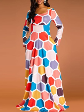 Ankle-Length Pullover Print Geometric Spring Women's Maxi Dress