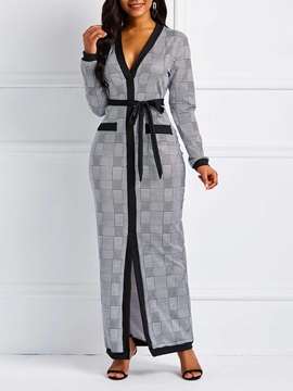 Floor-Length Lace-Up Pullover Women's Maxi Dress
