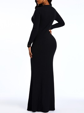 V-Neck Floor-Length Long Sleeve Spring Plain Women's Maxi Dress
