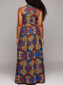 African Fashion Stand Collar Sleeveless Women's Maxi Dress
