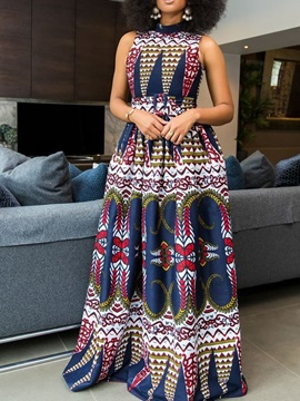 Sleeveless Floor-Length Color Block Print Women