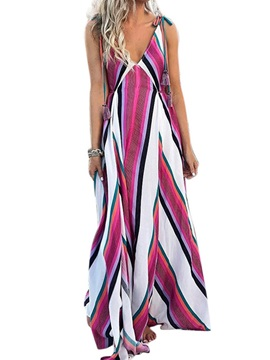 Floor-Length V-Neck  Spaghetti Strap Women's A-Line Dress